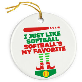 Softball Porcelain Ornament - Softball's My Favorite