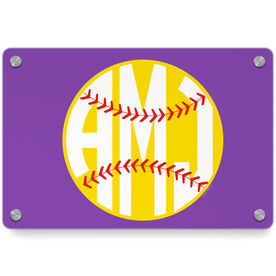 Softball Metal Wall Art Panel - Monogrammed