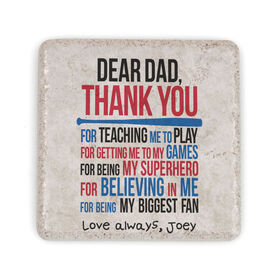Baseball Stone Coaster - Dear Dad (Autograph)