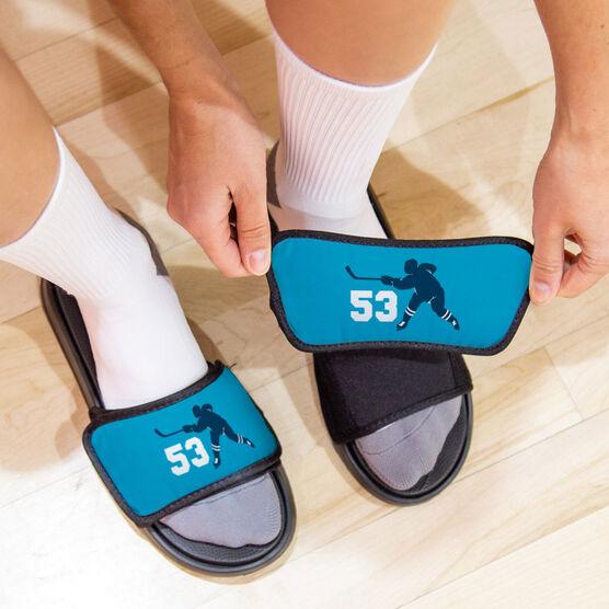 Hockey Repwell® Slide Sandals - Hockey Slapshot with Number