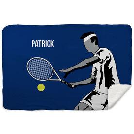 Tennis Sherpa Fleece Blanket - Closeup Male Player