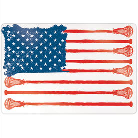 "Guys Lacrosse 18"" X 12"" Aluminum Room Sign - American Flag"