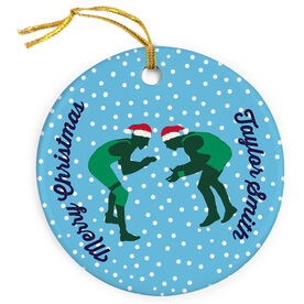 Wrestling Porcelain Ornament Silhouette With Santa Hat