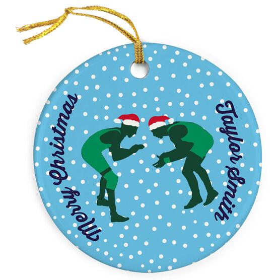 Wrestling Porcelain Ornament Silhouette With Santa Hat