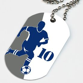 Soccer Printed Dog Tag Necklace Personalized Soccer Player Silhouette Guy