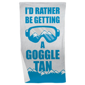 Skiing & Snowboarding Beach Towel - I'd Rather Be Getting A Goggle Tan