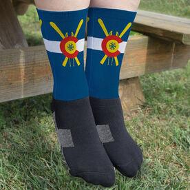Skiing Printed Mid-Calf Socks - Colorado