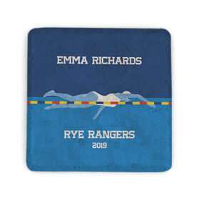 Swimming Stone Coaster - Personalized Team Girl