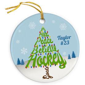 Hockey Porcelain Ornament Joy Hope Peace Believe