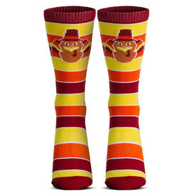 Woven Mid-Calf Socks - Turkey Stripe (Yellow/Orange/Red)