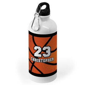 Basketball 20 oz. Stainless Steel Water Bottle - Personalized Big Number with Basketball