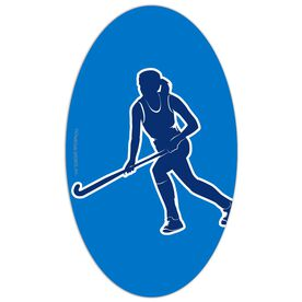 Field Hockey Oval Car Magnet Running Player