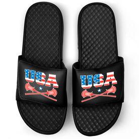 Guys Lacrosse Black Slide Sandals - USA Lacrosse