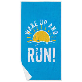 Running Premium Beach Towel - Wake Up And Run