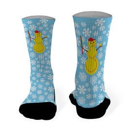 Softball Printed Mid Calf Socks Softball Snowman
