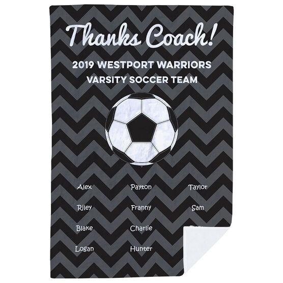 Soccer Premium Blanket - Personalized Thanks Coach Chevron