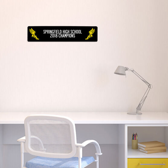 "Track and Field Aluminum Room Sign - Team Your Text With Winged Feet (4""x18"")"