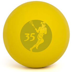 Personalized Engraved Lacrosse Ball Girl Player Cutout (Yellow Ball)