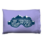 Skiing & Snowboarding Pillowcase - The Mountains Are Calling Goggles