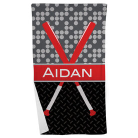 Baseball Beach Towel Personalized 2 Tier Patterns with Crossed Bats