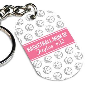 Basketball Printed Dog Tag Keychain Personalized Basketball Mom Of