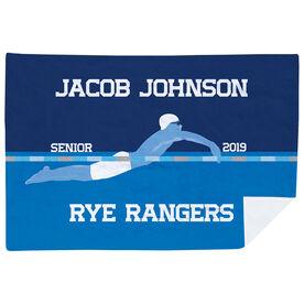 Swimming Premium Blanket - Personalized Swimming Guy Senior