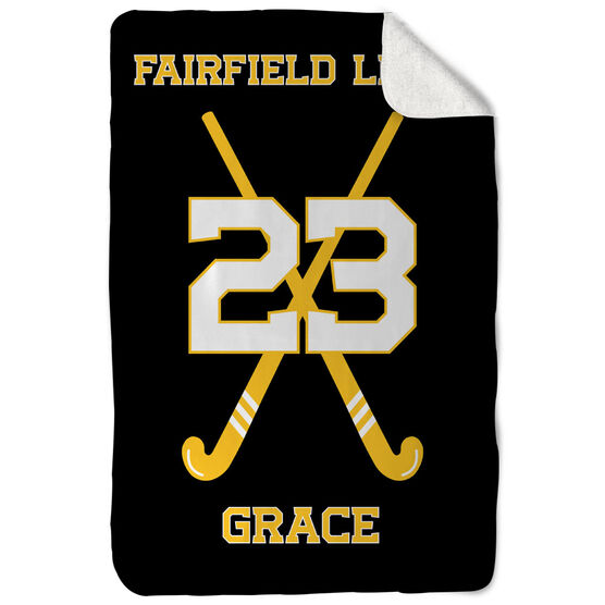 Field Hockey Sherpa Fleece Blanket - Personalized Field Hockey Team With Crossed Sticks