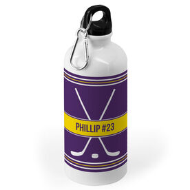 Hockey 20 oz. Stainless Steel Water Bottle - Personalized Hockey Crossed Sticks Pattern