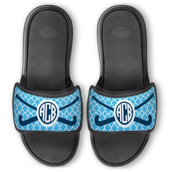 Field Hockey Repwell™ Slide Sandals - Personalized Monogram Sticks with Quatrefoil Pattern