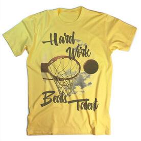 Vintage Basketball T-Shirt - Hard Work Beats Talent