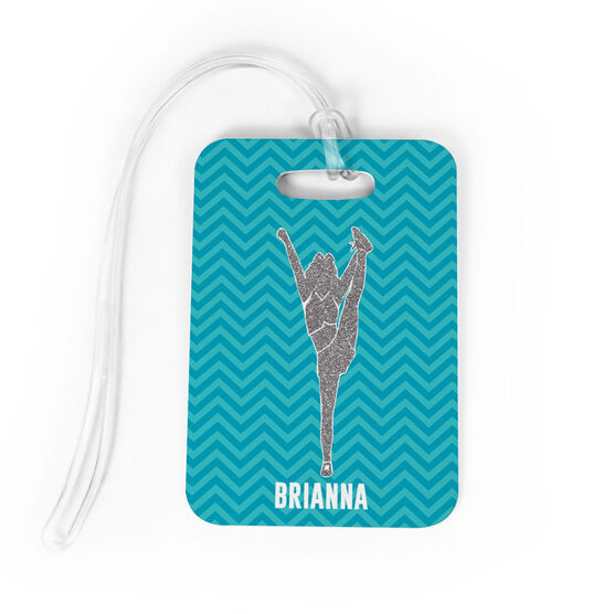Cheerleading Bag/Luggage Tag - Personalized Faux Glitter Chevron Pattern