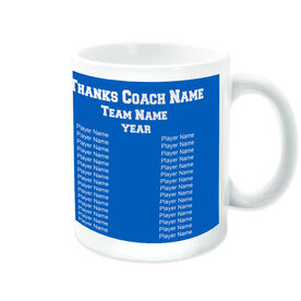 Softball Coffee Mug Thanks Coach Custom Logo With Team Roster