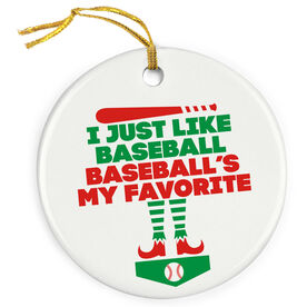 Baseball Porcelain Ornament - Baseball's My Favorite