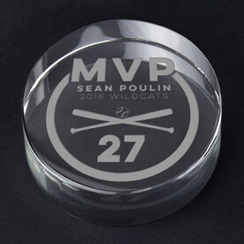 Baseball Personalized Engraved Crystal Gift - MVP Award