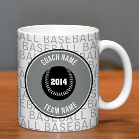 Baseball Coffee Mug Personalized Coach Word Pattern