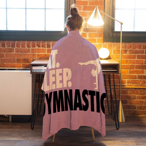 Gymnastics Premium Blanket - Eat. Sleep. Gymnastics. Horizontal