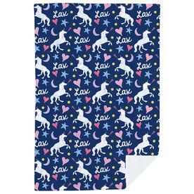 Girls Lacrosse Premium Blanket - Lax Unicorn Pattern