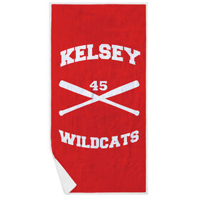 Softball Premium Beach Towel - Personalized Crossed Bats