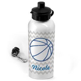 Basketball 20 oz. Stainless Steel Water Bottle Personalized Glitter Basketball