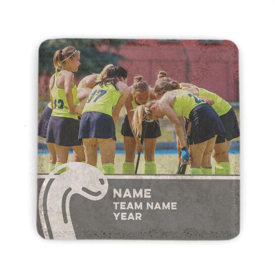 Field Hockey Stone Coaster - Team Photo with Stick