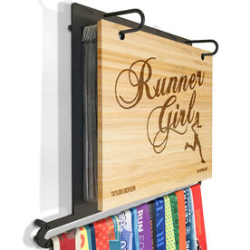 Engraved Bamboo BibFOLIO Plus Race Bib and Medal Display Runner Girl