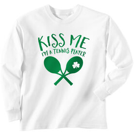 Tennis Tshirt Long Sleeve Kiss Me I'm A Tennis Player