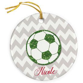 Soccer Porcelain Ornament Personalized Glitter Soccer Ball