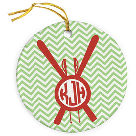 Skiing Porcelain Ornament Personalized Monogram