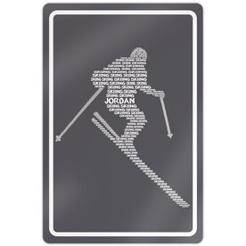 """Skiing 18"""" X 12"""" Aluminum Room Sign Personalized Skiing Words"""
