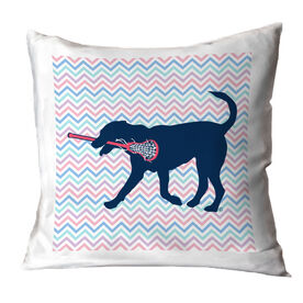 Girls Lacrosse Decorative Pillow - Lula The Lax Dog