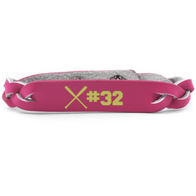 Softball Leather Engraved Bracelet Crossed Bats with Number