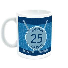Hockey Coffee Mug Personalized Word Pattern with Crosse Sticks
