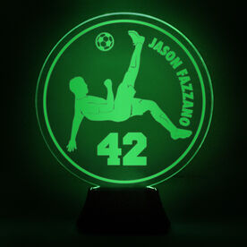 Soccer Acrylic LED Lamp Bicycle Kick With Name and Number