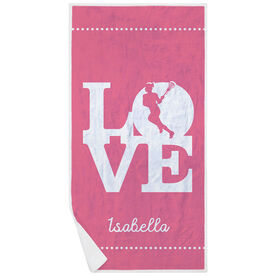Girls Lacrosse Premium Beach Towel - Love Lacrosse Girl